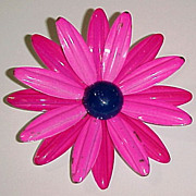 "SALE Retro Mod 2-3/4"" Flower Power Layered Hot Pink & Magenta Brooch Aster"