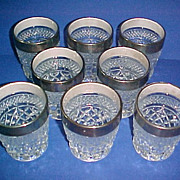 SALE 8 Anchor Hocking Glass Wexford 10oz Old Fashioned Tumbler Glasses Platinum Rim