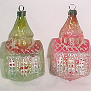 SALE 2 West Germany UNSILVERED Church Shape Vintage Glass Christmas Ornaments