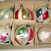 SALE Box 6 POLAND JUMBO Fancy Figural Vintage Glass Christmas Ornaments