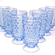 Set of 7 Fostoria American Blue Glass Ice Tea Tumblers