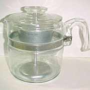 SOLD Complete Pyrex Glass Flameware 6-Cup Coffee Pot Percolator