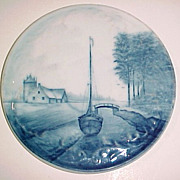 Circa 1900 RC Delft Rosenthal Boat Flow Blue Hand Painted Tea Tile Trivet