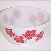 Hazel Atlas Glass Red Maple Leaf Cottage Cheese Bowl