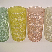 Set of 4 Vintage Color Craft Spaghetti Shatterproof Glass Tumblers