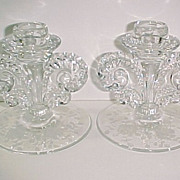 Pair of Fostoria Coronet #2560 Willowmere Etch Single Light Candlesticks