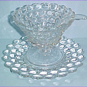 Westmoreland Glass Thousand Eye 3 Pc Mayonnaise Bowl Underplate & Spoon