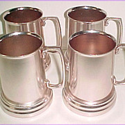 Set of 4 Vintage Pink Aluminum Handled Mug Steins
