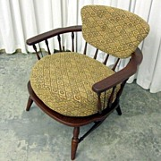 Vintage 1950's Mid-Century Modern Windsor Style Side Chair w Deep Cushion NICE