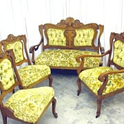 Antique 4 Pc Victorian Settee Arm Chair & 2 Side Chairs New Upholstery XTRA NICE