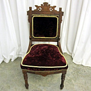 Antique Eastlake Parlor Chair Extra Nice Condition Red Plum Upholstery Gold Trim