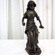 Antique Metal Sculpture French Lady Girl w Flowers Bronze Finish Nice Condition