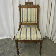 Antique Eastlake Victorian Style Side Chair Fresh Upholstery Excellent Condition