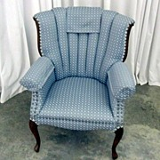 Vintage Channel Back Arm Chair w Rosewood Trim Nice Upholstery Great Condition
