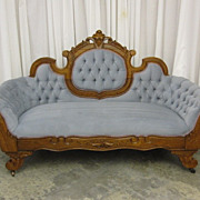 Antique Victorian Style Cameo Back Sofa w Button Tuft Upholstery Extra Nice Pc