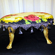 Antique Needlepoint Upholstered Round Footstool w Federal Style Split Hoof Feet