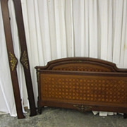Antique Regency Style Bed Mahogany Inlay Pattern Brass Trim EXTRAVAGANT BEAUTY