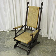 Antique 1800s Eastlake Style Glider Rocking Chair Upholstered Seat Xnice Cond