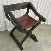 Antique 1800s Chair from Mexico Sling Seat Empire Style Great Pattern Chair SEE