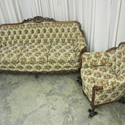 Antique Walnut Sofa & Chair Set w Fresh Upholstery Victorian Style Mint Cond