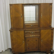 Antique 1930�s/40�s Art Deco Style China Hutch Beautiful Wood Inlay Mint Cond