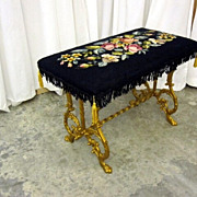 Antique Iron Base Bench Victorian Style Black Needlepoint Upholstery Great Cond