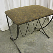 Mid-Century Modern Style Vanity Stool/Bench Metal Base w Fresh Upholstered Seat