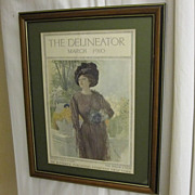 1910 Magazine Cover for THE DELINEATOR by Butterick Pub Co Framed & Matted NICE