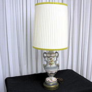 Vintage Table Lamp Hand Decorated Renee China by Royal Crown L&S Co Brass Base