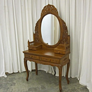 Antique Oak Victorian Style Vanity w Oval Mirror in Ornately Carved Frame NICE