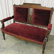 Antique Eastlake Stick & Ball Settee Loveseat Excellent Condition Walnut Wood