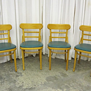 Set of 4 Mid-Century Modern Chairs Blond Wood w Vinyl Seats 1950s Original Cond