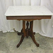 Antique Walnut Eastlake Style Lamp Table w Marble Top & Porcelain Casters XNICE