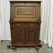 Antique Drop Front Secretary Eastlake Style w Burled Walnut Trim Lock w Key
