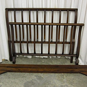 Antique Dark Oak  Sawn Oak Sleigh Bed Standard Size Beautiful Wood Grain NICE