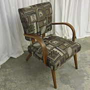 Mid-Century Modern Style Armchair Bentwood Arms and Upholstered Seat NICE Cond