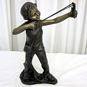Antique Bronze Statue of a Boy with a Slingshot Mint Condition 14  Tall