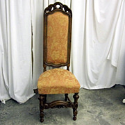 Antique Empire Style High Back Side Chair Fresh Upholstery Beautifully Ornate