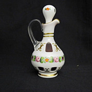 Vintage Bohemian Czech Lead Crystal Cranberry Red Cruet Hand Painted & Numbered