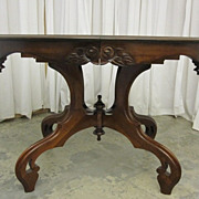Antique Walnut Victorian Style Parlor Table w Finial Stretcher Oval Extra Nice