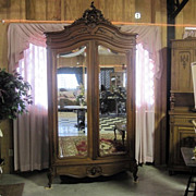 Antique 1880s Armoire Wardrobe w Mirrored Doors & Drawer Base Excellent Cond