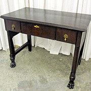 Antique Early 1900's 3 Drawer Library Table Dark Mahogany w Large Paw Feet NICE