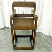 Primitive Childs High Chair Custom Made Mission Style Painted Brown Rough Cut