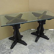 Antique Oak Table Posts �X� Style Dark Stain w Glass Bevel Edge Top Extra Nice!