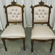 Pair of 2 Antique Eastlake Style Side Chairs Walnut w Upholstery Xtra Nice Cond