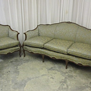 Antique Sofa and Chair Set  French Style Extra Nice Fresh Upholstery