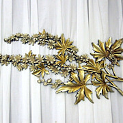Vintage Decorative Wall Hanging Flowering Maple Leaves in Gold & Creamy White