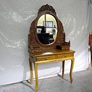 Antique Vanity Oak Victorian Style w Oval Mirror in Ornately Carved Frame NICE