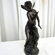 Antique Bronze 20th Century Fairy Sculpture Signed 22 Woody 15  Tall Nice Con