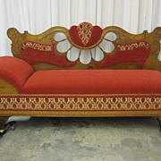 Antique 1800s Lounge Chaise Sofa Unfolds to Bed Extra Nice Oak & Upholstery NICE